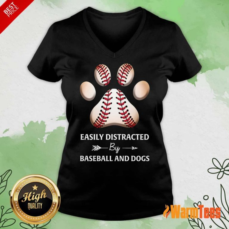 Paw By Baseball And Dogs V-neck