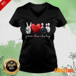 Peace Love Bowling V-neck