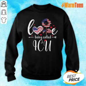 American Flag Sunflower Love Being Called ICU Sweater