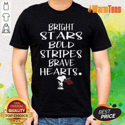Bold Stripes Bright Stars Brave Hearts Snoopy American Flag Shirt