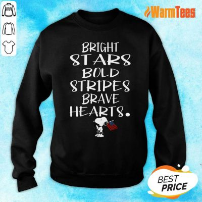 Bold Stripes Bright Stars Brave Hearts Snoopy American Flag Sweater