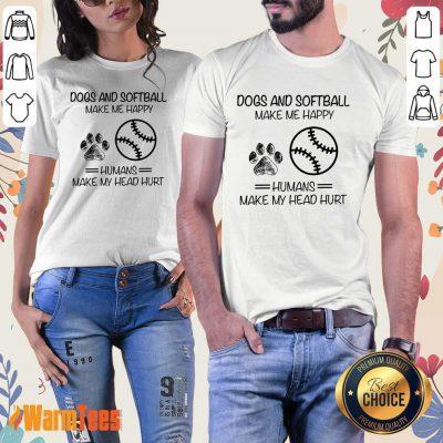 Dogs And Softball Make Me Happy Ladies Tee