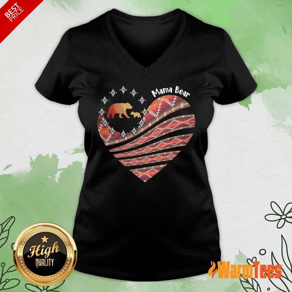 Heart Mama Bear Mother Day V-neck
