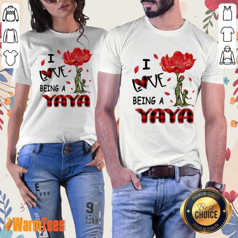 I Love Being A Yaya Red Flower Ladies Tee
