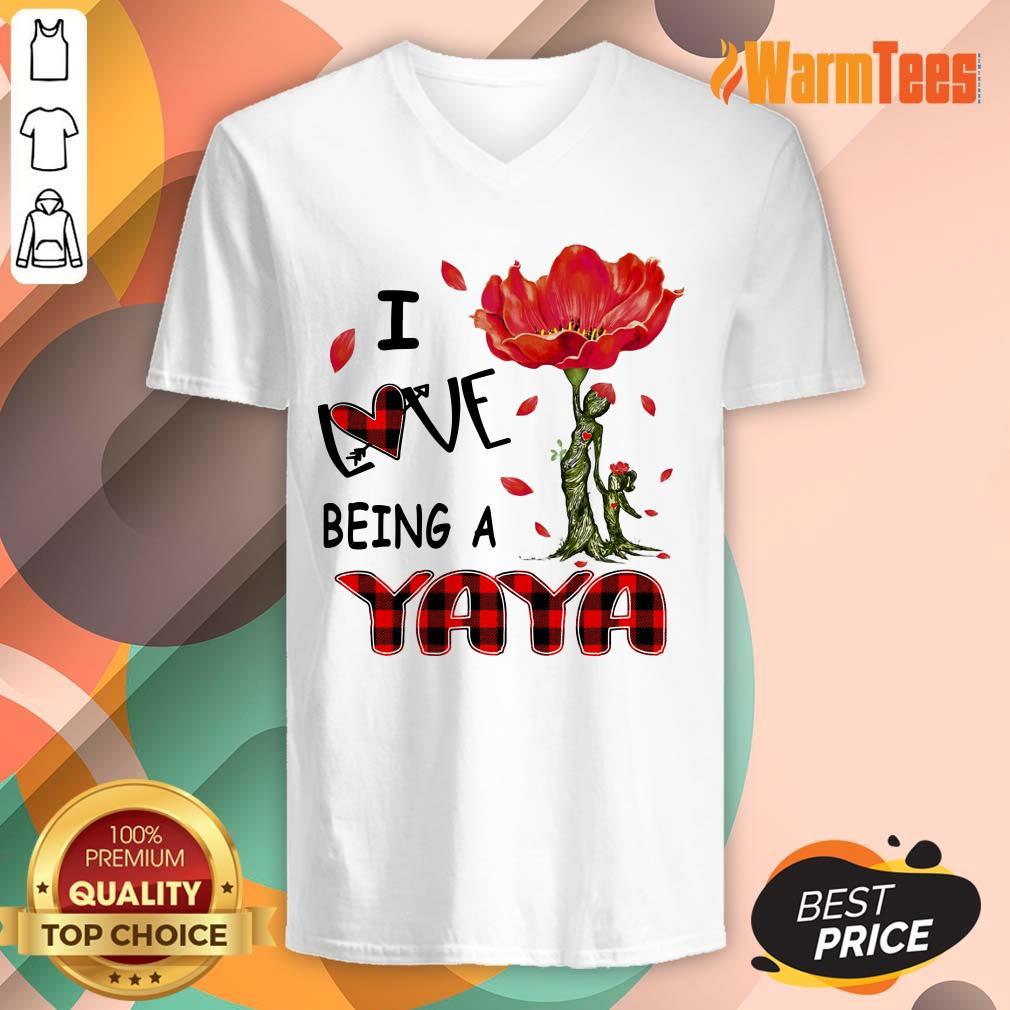 I Love Being A Yaya Red Flower V-neck