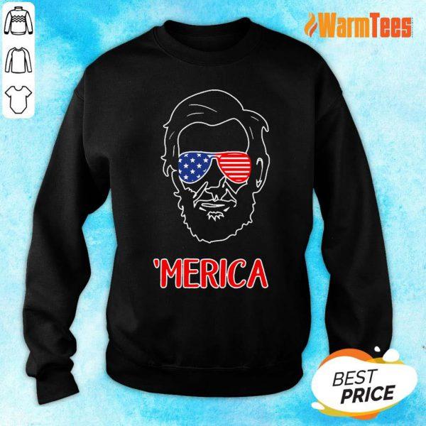 Merica Abraham Lincoln American Flag Sweater