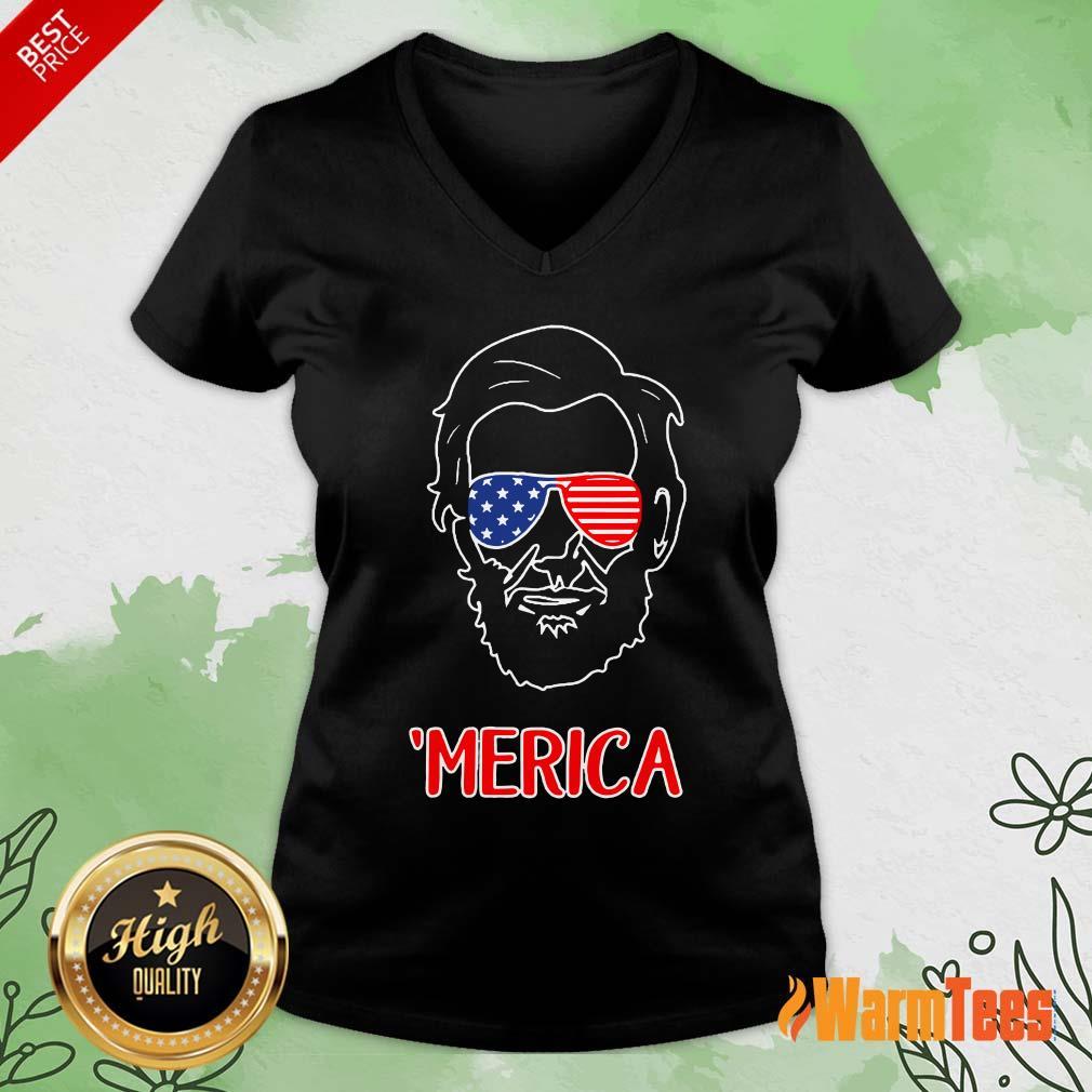 Merica Abraham Lincoln American Flag V-neck