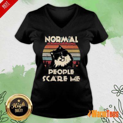 Normal People Scare Me Dog Vintage V-neck
