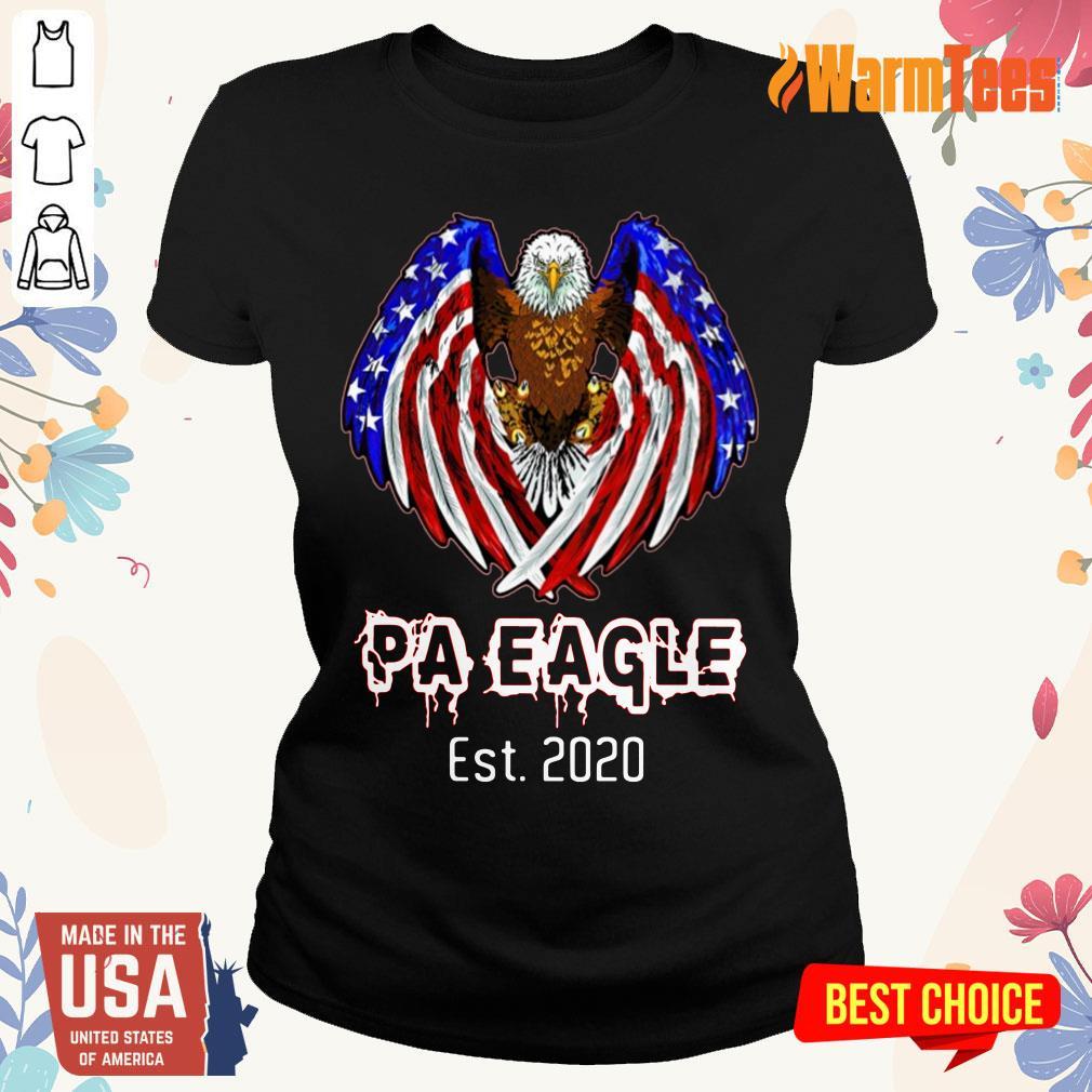 Pa Eagle American Flag Est 2020 Ladies Tee