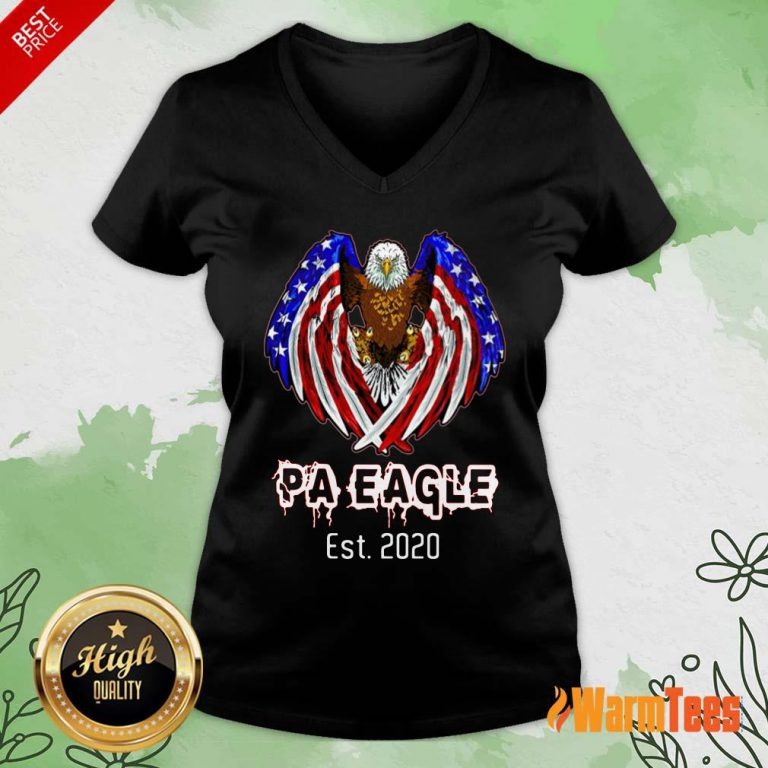 Pa Eagle American Flag Est 2020 V-neck