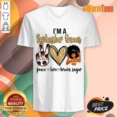 September Queen Peace Love Brown Sugar V-neck