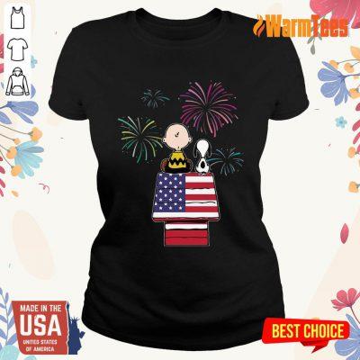 Snoopy And Charlie Brown American Flag Ladies Tee