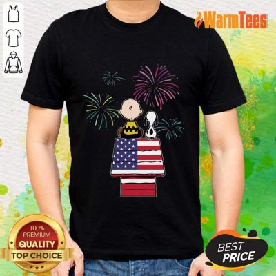 Snoopy And Charlie Brown American Flag Shirt