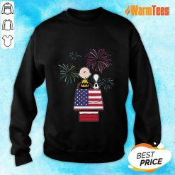Snoopy And Charlie Brown American Flag Sweater