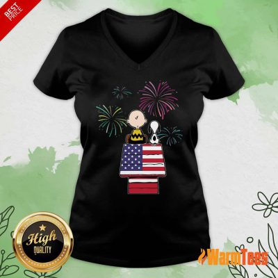 Snoopy And Charlie Brown American Flag V-neck