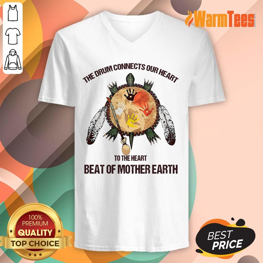 The Drum Connects Beat Of Mother Earth V-neck