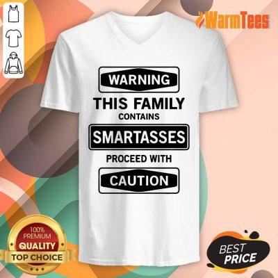 Warning This Family Smartasses Caution V-neck