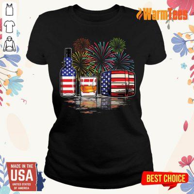 Whisky USA Flag Firework Ladies Tee