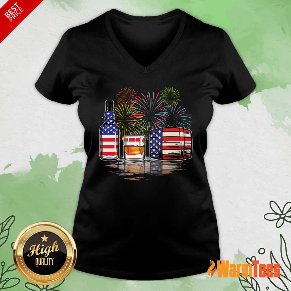 Whisky USA Flag Firework V-neck